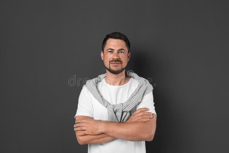 Portrait of handsome man on background stock photography