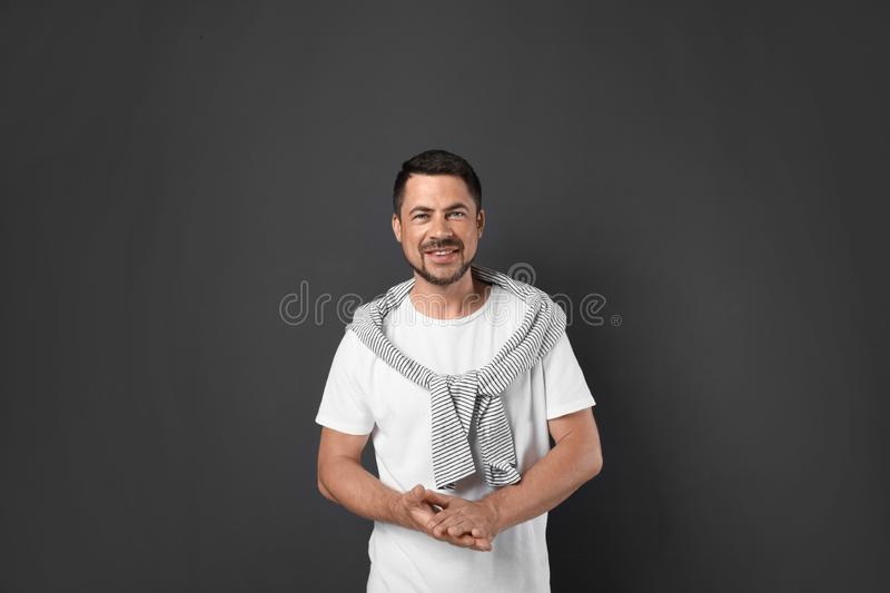 Portrait of handsome man on background stock photo