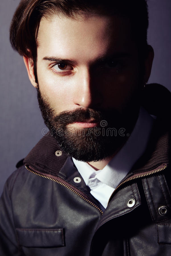 Portrait of handsome man with beard stock photography