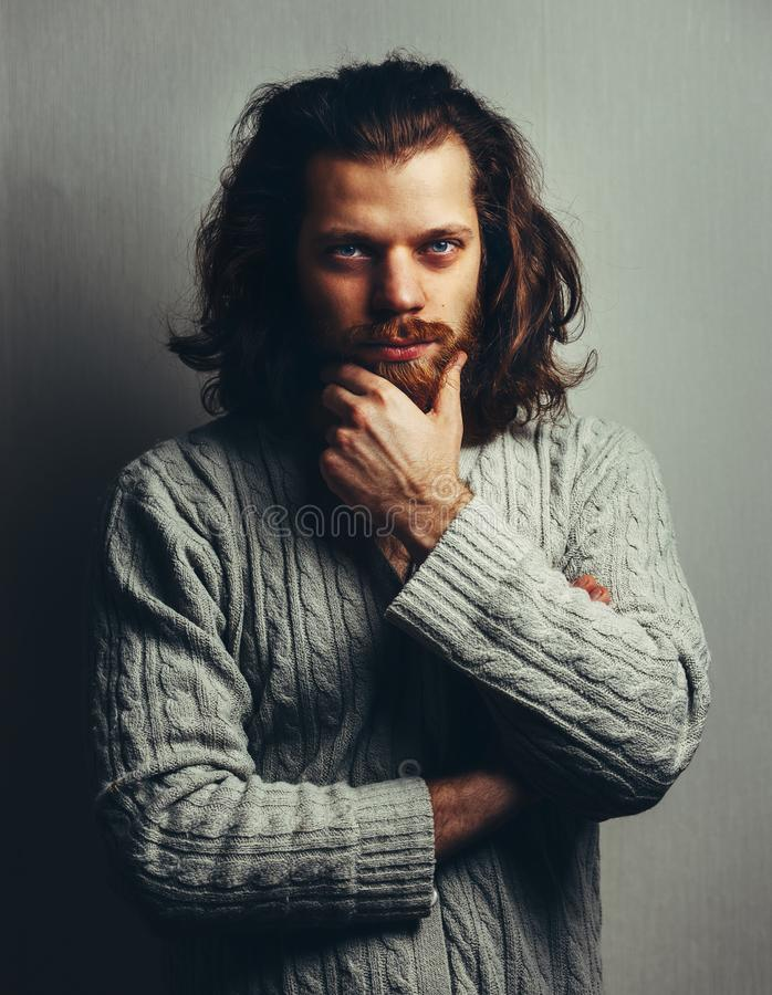 Fantastic Portrait Of Handsome Stylish Man With A Beard Long Hair And Big Natural Hairstyles Runnerswayorg