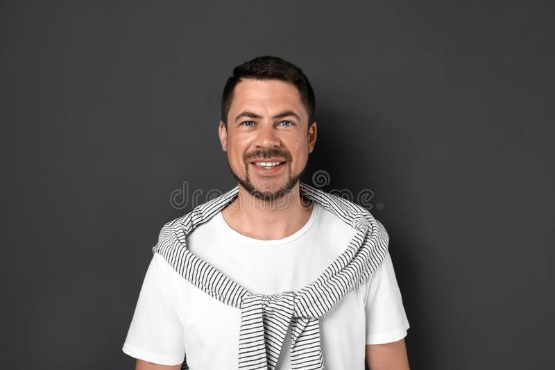 Portrait of handsome man on background royalty free stock image