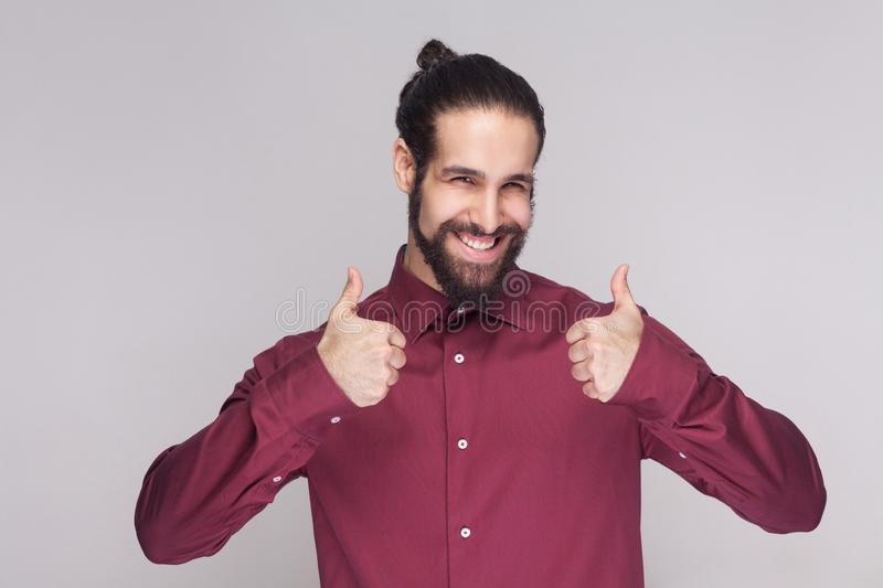 Portrait of handsome man with dark collected long hair and beard royalty free stock photos