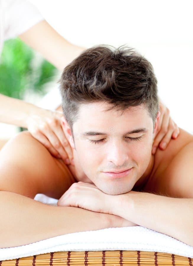 Download Portrait Of A Handsome Man Having A Back Massage Stock Photo - Image of healthcare, positive: 15615912