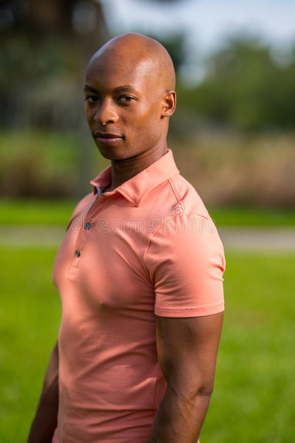 Portrait handsome man looking over shoulder towards camera. ADult bald male model posing in a pink polo style shirt stock photography