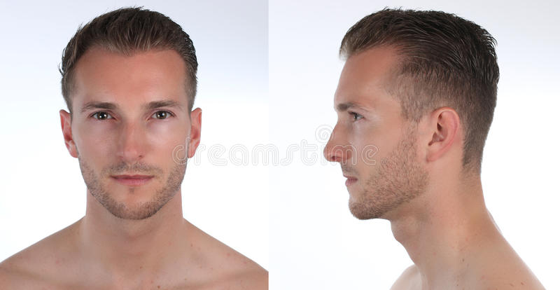Portrait of a handsome man, profile and face. Creation of a virtual 3D character or an avatar. Portrait of a handsome man, profile and face. Creation of a stock images