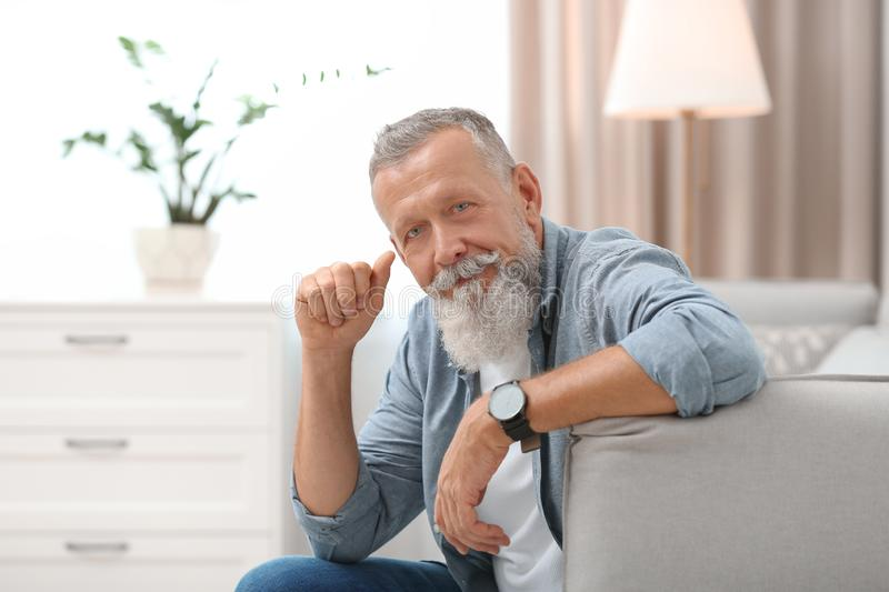 Portrait of handsome mature man sitting on sofa royalty free stock photos