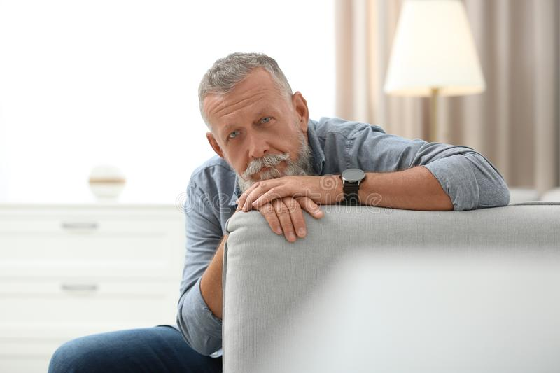 Portrait of handsome mature man sitting on sofa royalty free stock photography