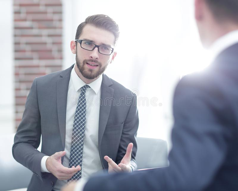 Portrait of two business people discussing new project royalty free stock photos