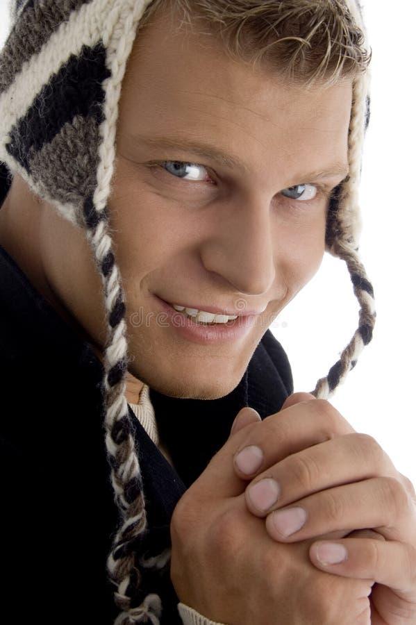 Portrait Of Handsome Model Wearing Woolen Cap Royalty Free Stock Images