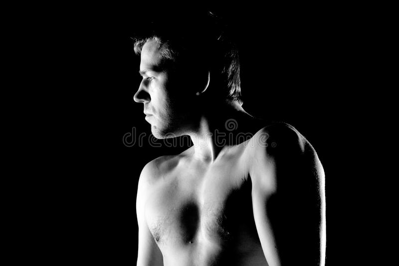 Portrait of handsome muscleman royalty free stock photos