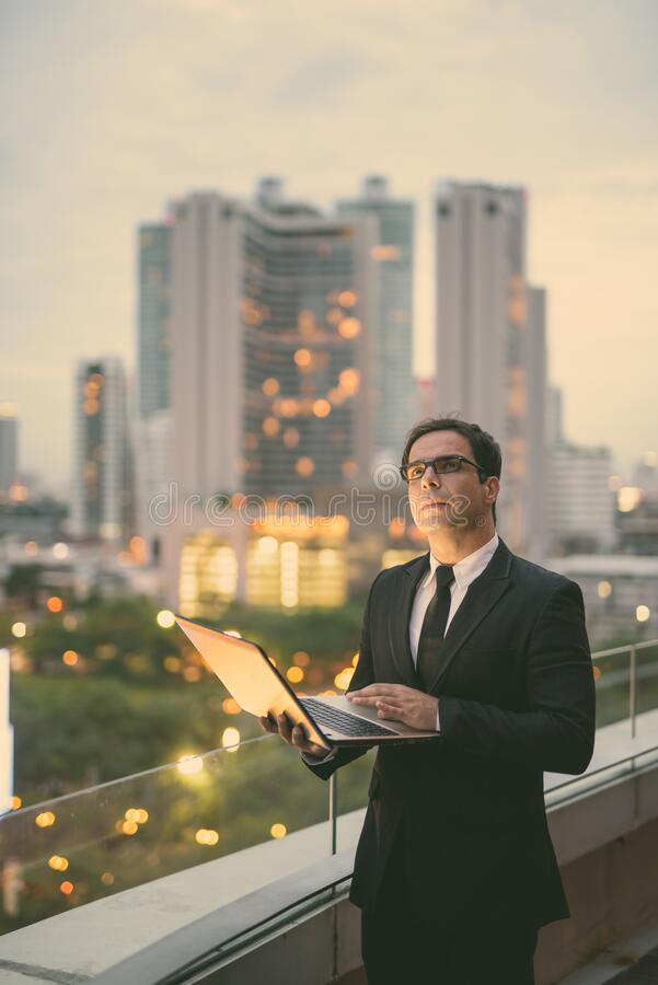 Handsome Persian businessman against view of the city stock image
