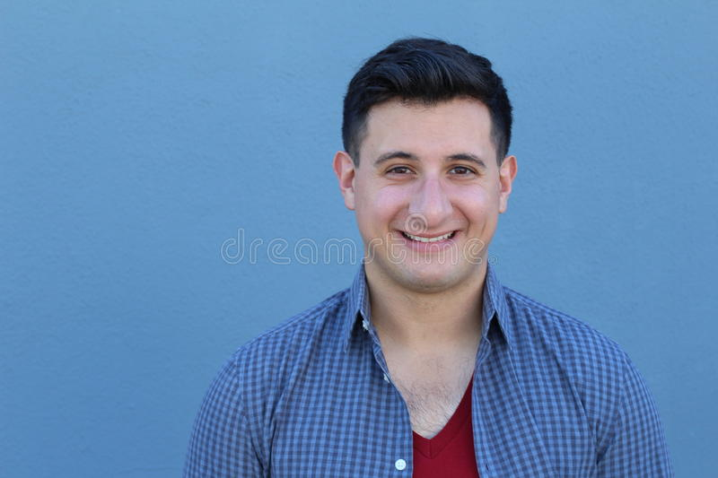 Portrait of handsome real looking man smiling.  stock photos