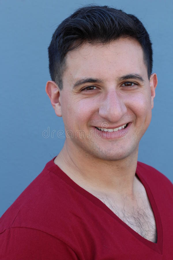 Portrait of handsome real looking man smiling.  royalty free stock photo