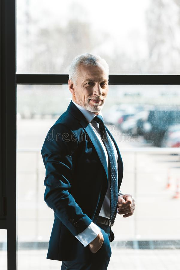 Portrait of handsome senior businessman. Standing with hand in pocket and smiling at camera stock photography