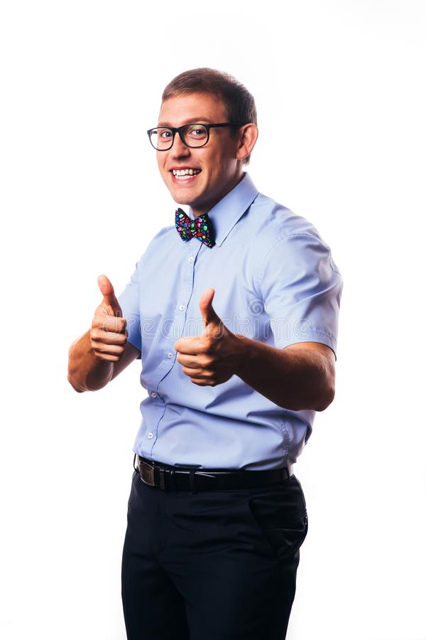 Portrait of handsome smiling guy over white background stock photo