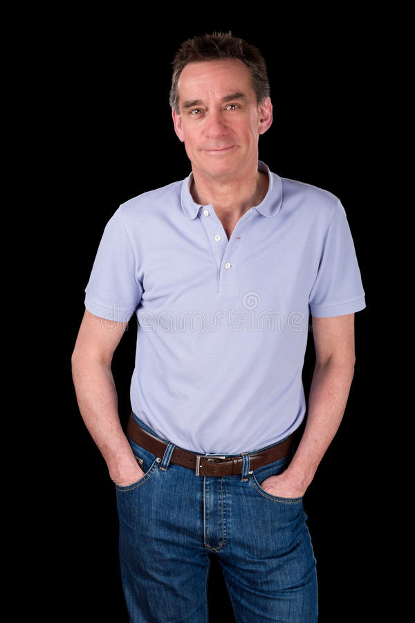 Portrait of Handsome Smiling Happy Man Hands in Pockets stock photos