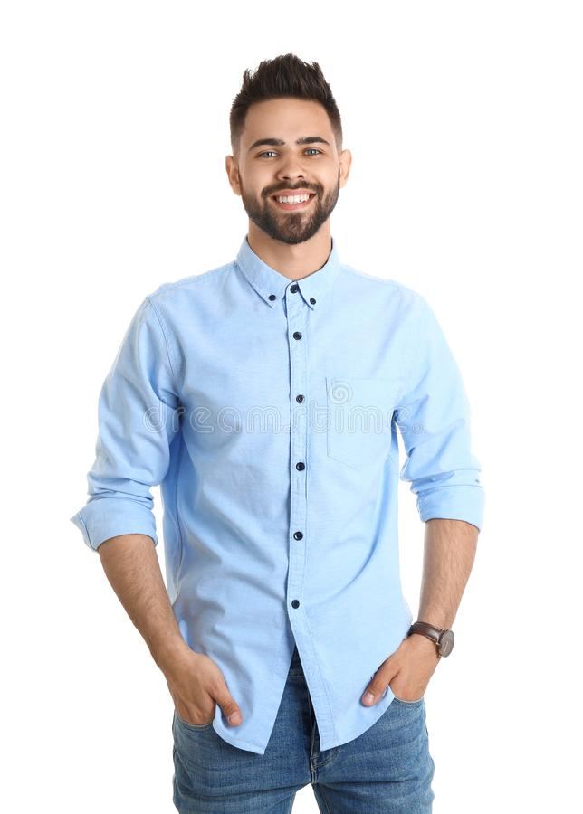 Portrait of handsome smiling man isolated on stock photo