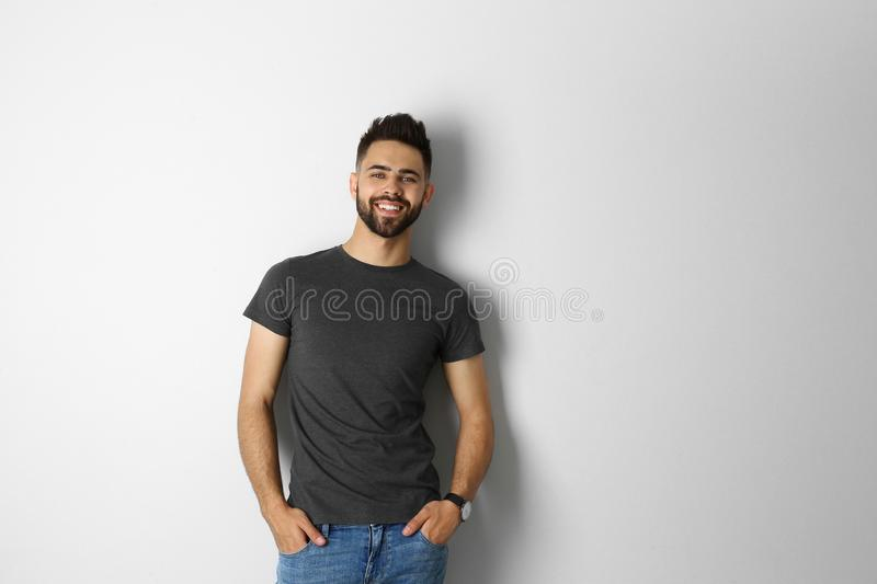 Portrait of handsome smiling  isolated on white royalty free stock photography