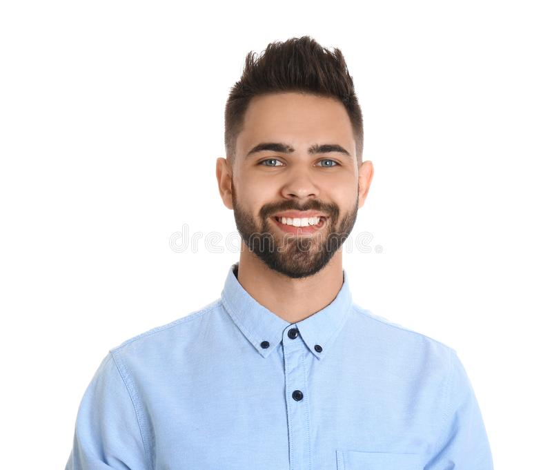 Portrait of handsome smiling man  on white royalty free stock image