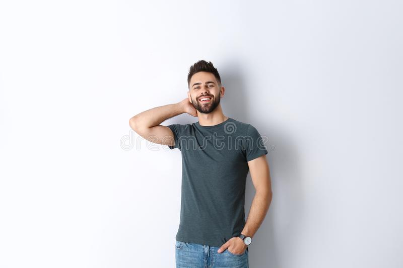 of handsome smiling man isolated on white stock photos