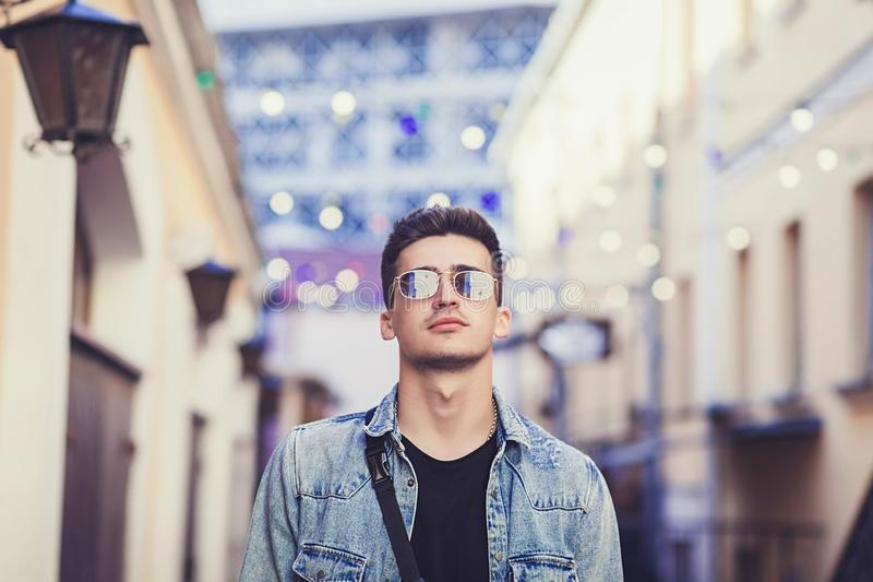 Portrait of handsome stylish hipster male model royalty free stock images