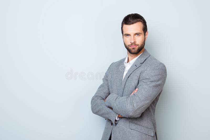 Portrait of handsome successful respected businessman in formal royalty free stock photo