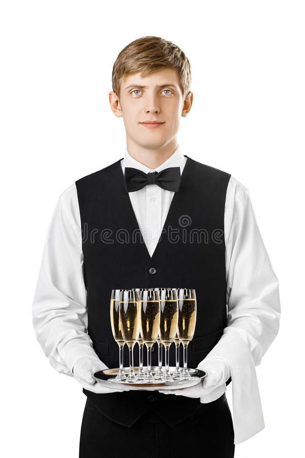 Portrait of handsome waiter holding silver tray with glasses of stock images