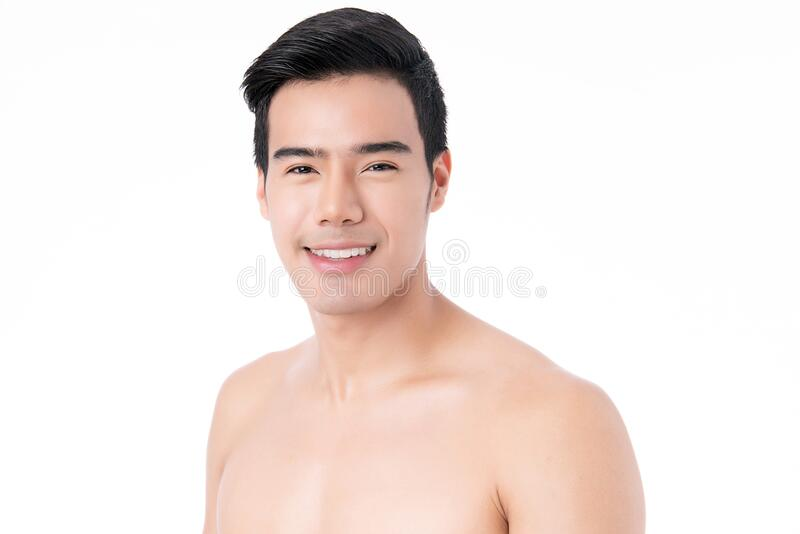 Portrait of Handsome young asian man isolated on white background. Concept of men`s health and beauty, self-care, body and skin. Portrait of Handsome young asian stock photos