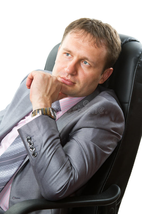Portrait of a handsome young boss, isolated on white background stock photo
