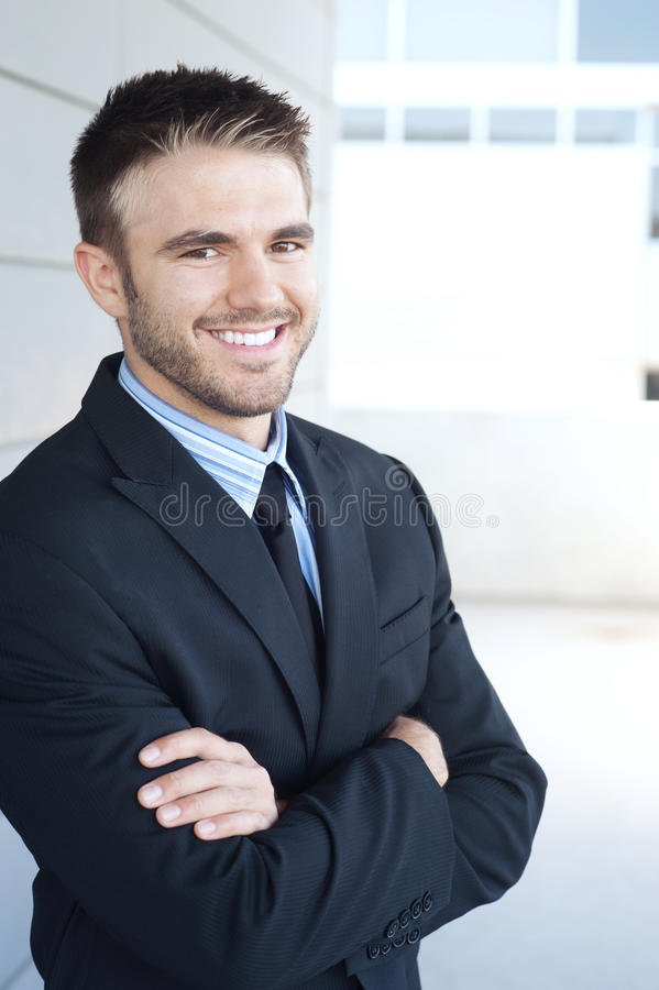 Portrait of a handsome young businessman stock photos