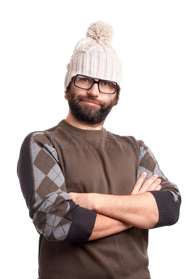Portrait Of Handsome Young Man With Beard Stock Images