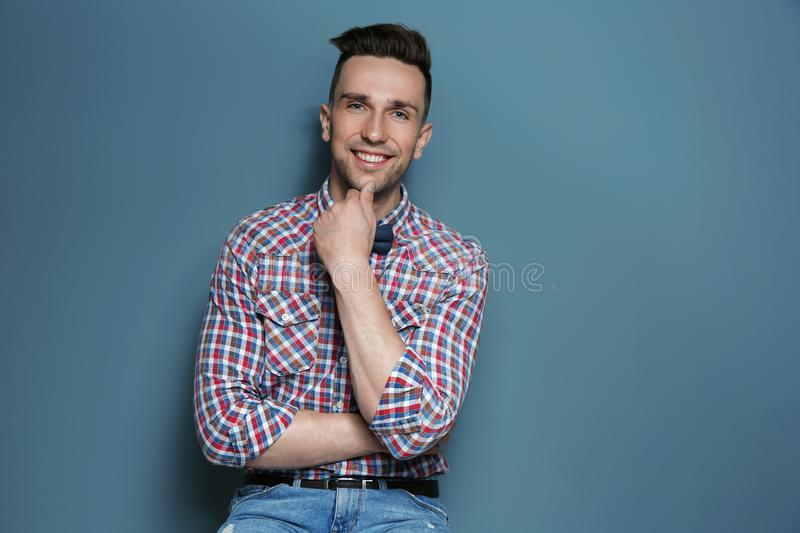 Portrait of handsome young man royalty free stock photos