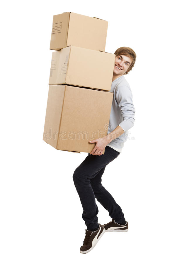 Download Man Holding Card Boxes Stock Images - Image: 29846404