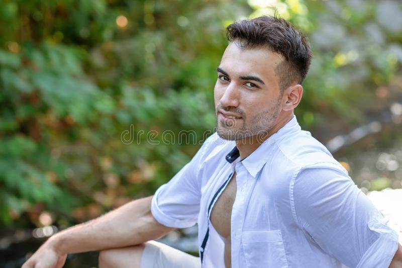 portrait of handsome young man, outdoor royalty free stock images