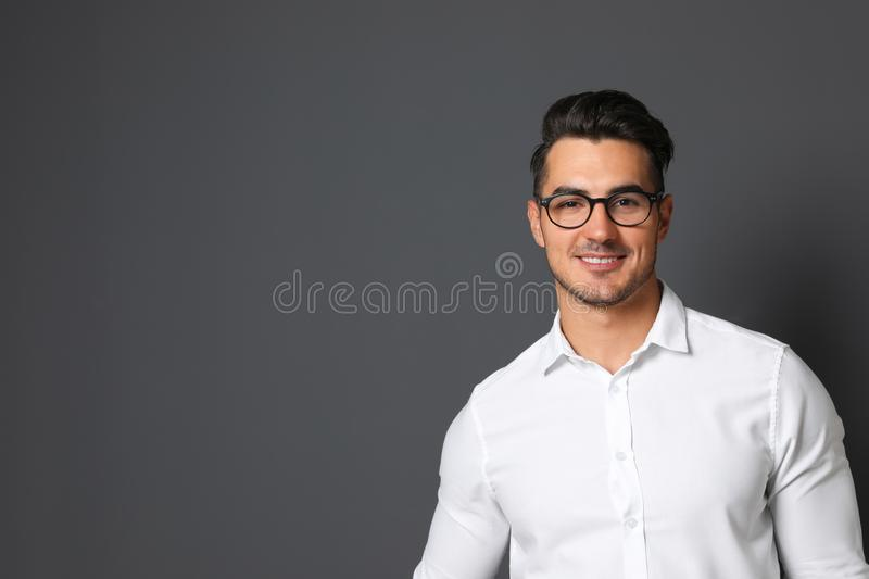 Portrait of handsome young man and space royalty free stock image