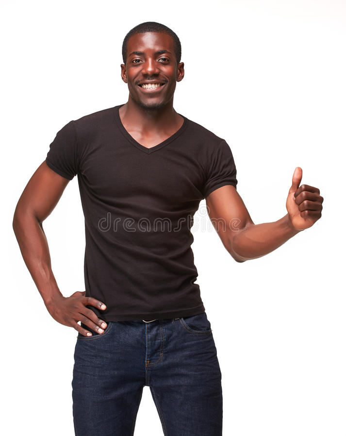 Portrait of handsome young smiling african man stock photography