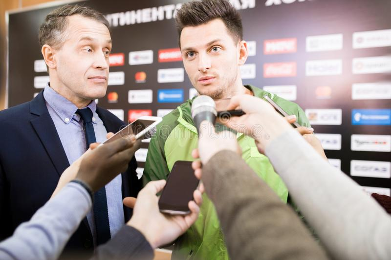 Reporters Interviewing Sportsman stock image