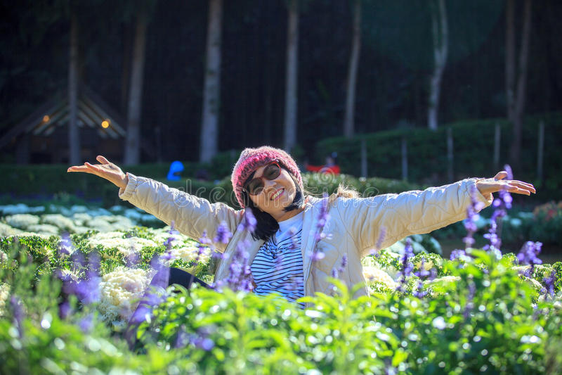 Portrait of happiness asian woman with smiling face in blooming royalty free stock photo