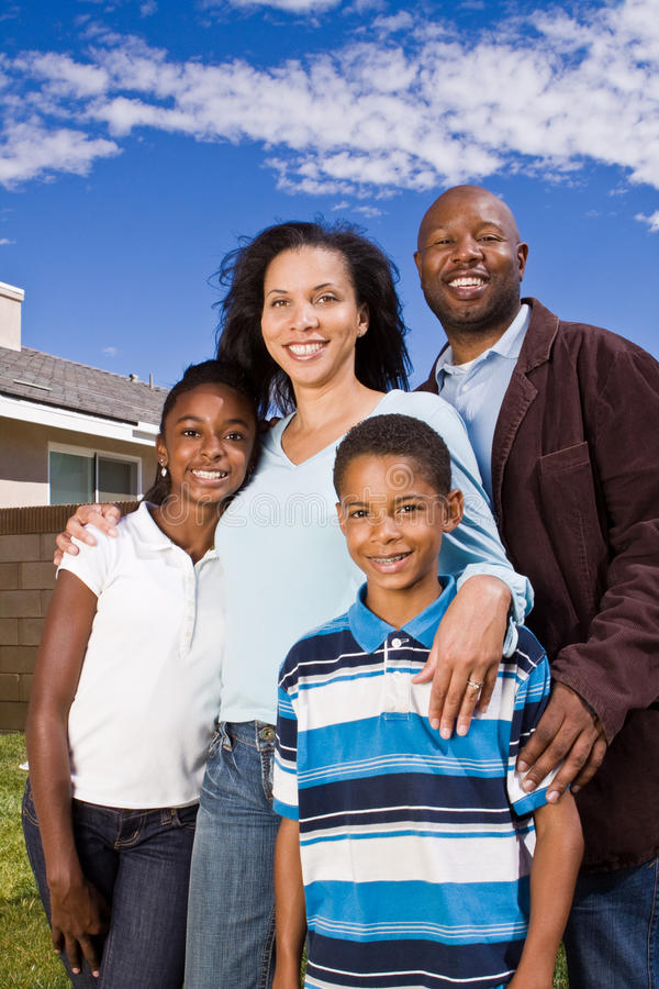 Portrait of a happy African American family. royalty free stock photography