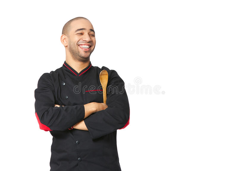 Portrait of happy Afro American professional cook isolated. Portrait of happy Afro American professional cook isolated on white stock image