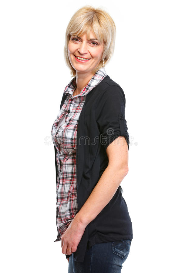 Portrait of happy aged woman royalty free stock photos