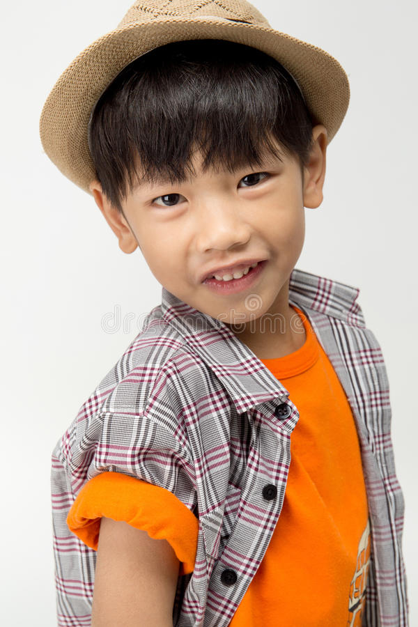 Portrait of Happy asian cute boy with smile face royalty free stock images