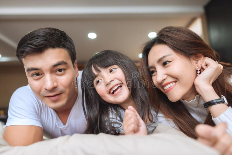 Portrait Happy Asian Family. At home royalty free stock image
