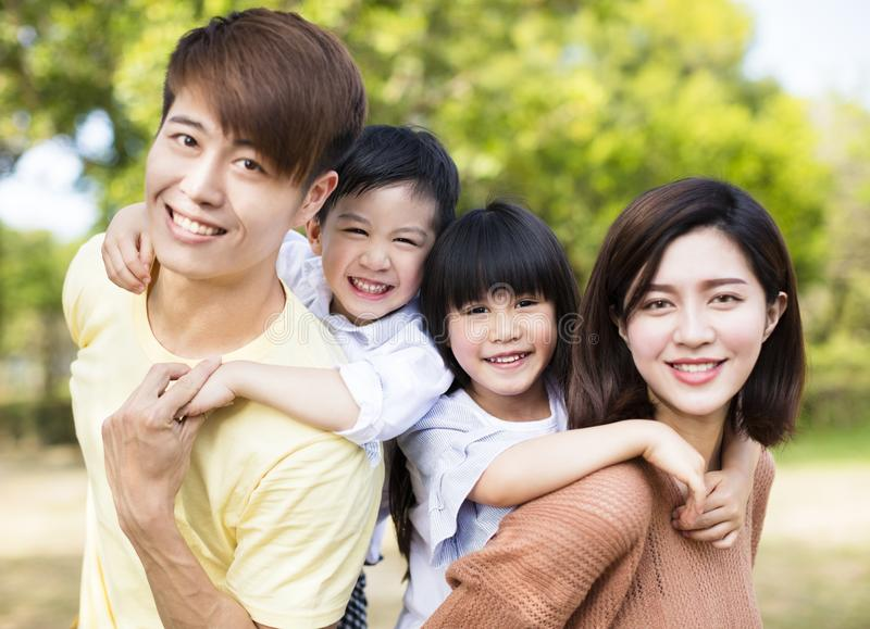 Happy asian Family Inthe park stock images