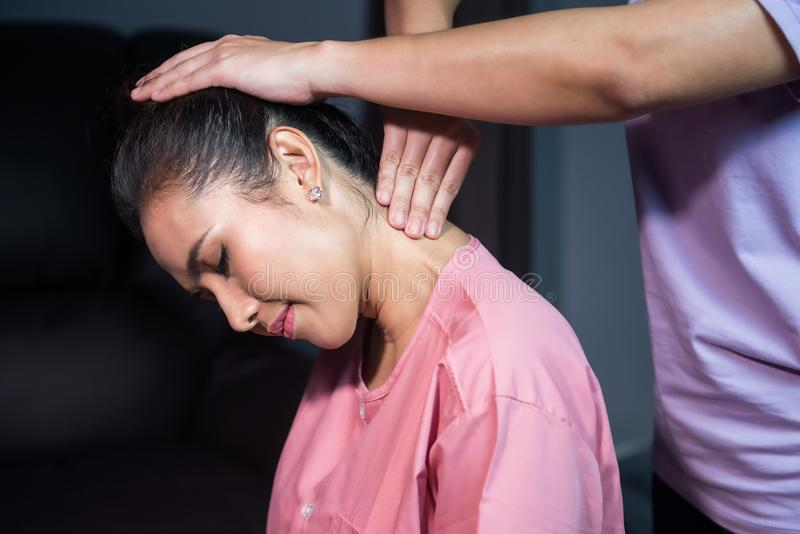Neck Thai massage in spa royalty free stock image