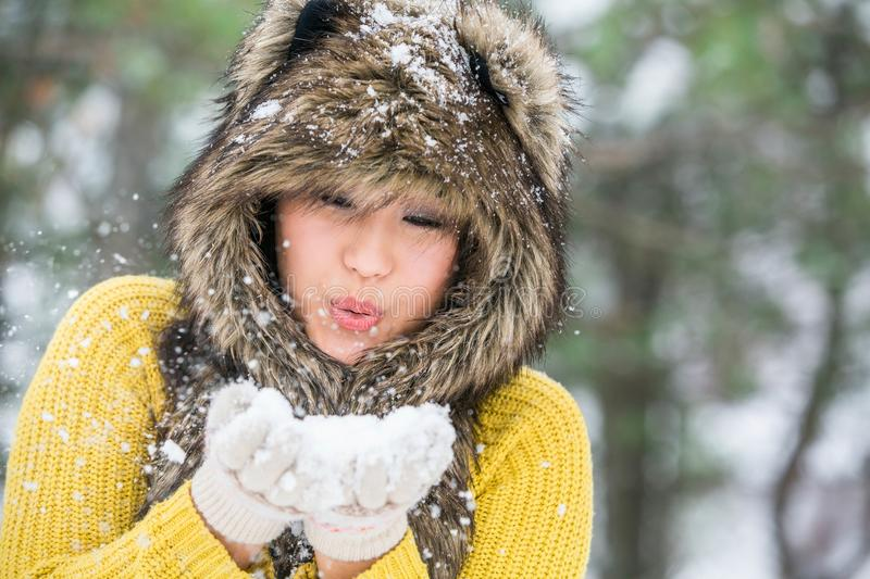 Asian woman in a winter park. Portrait of a happy asian woman in a winter park stock photos