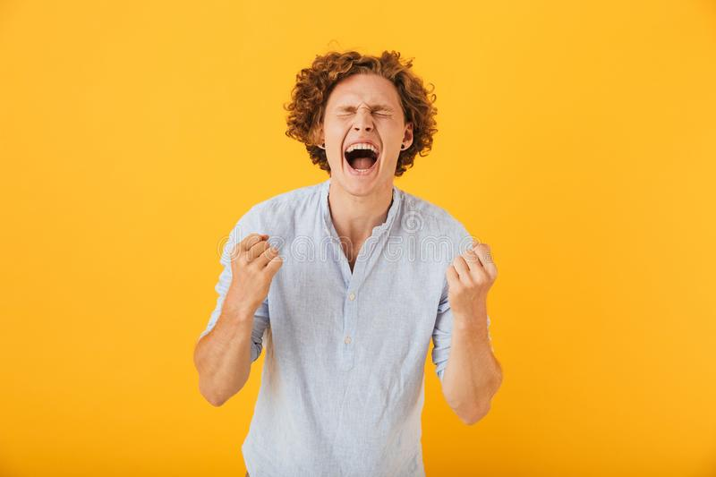 Portrait of happy astonished man 20s screaming and clenching fists with closed eyes, isolated over yellow background royalty free stock photos