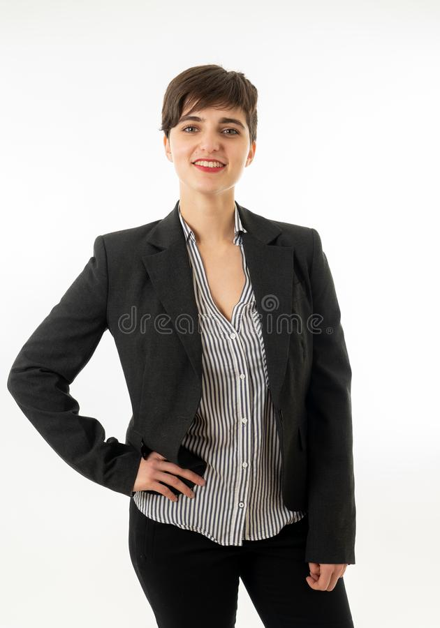 Portrait of happy attractive corporate business woman looking confident and successful isolated royalty free stock photography