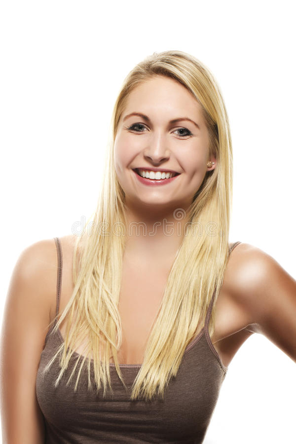 Portrait of a happy beautiful blonde woman royalty free stock photos