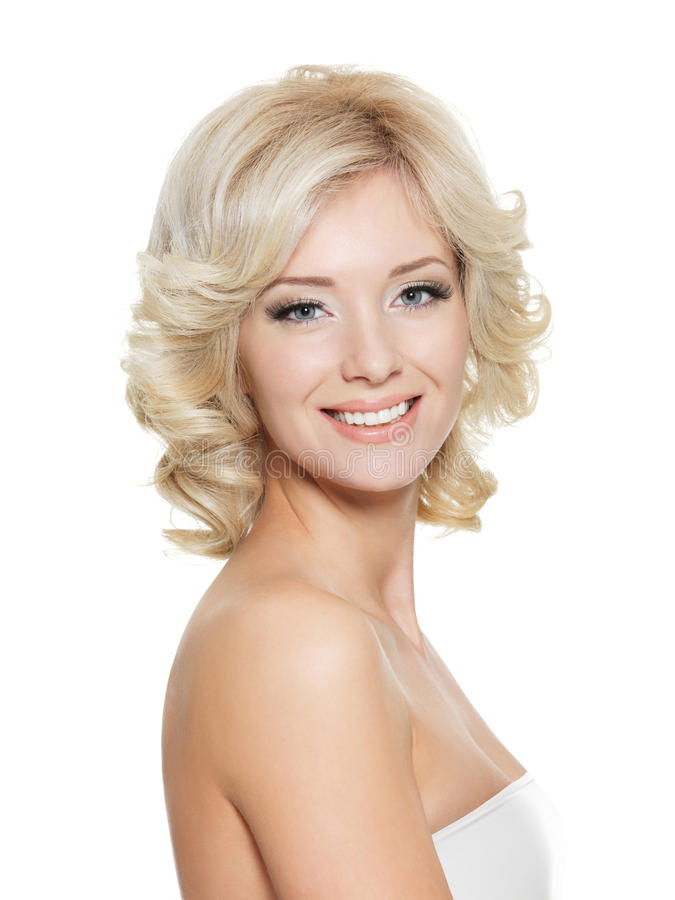 Portrait of happy beautiful blonde woman royalty free stock photos
